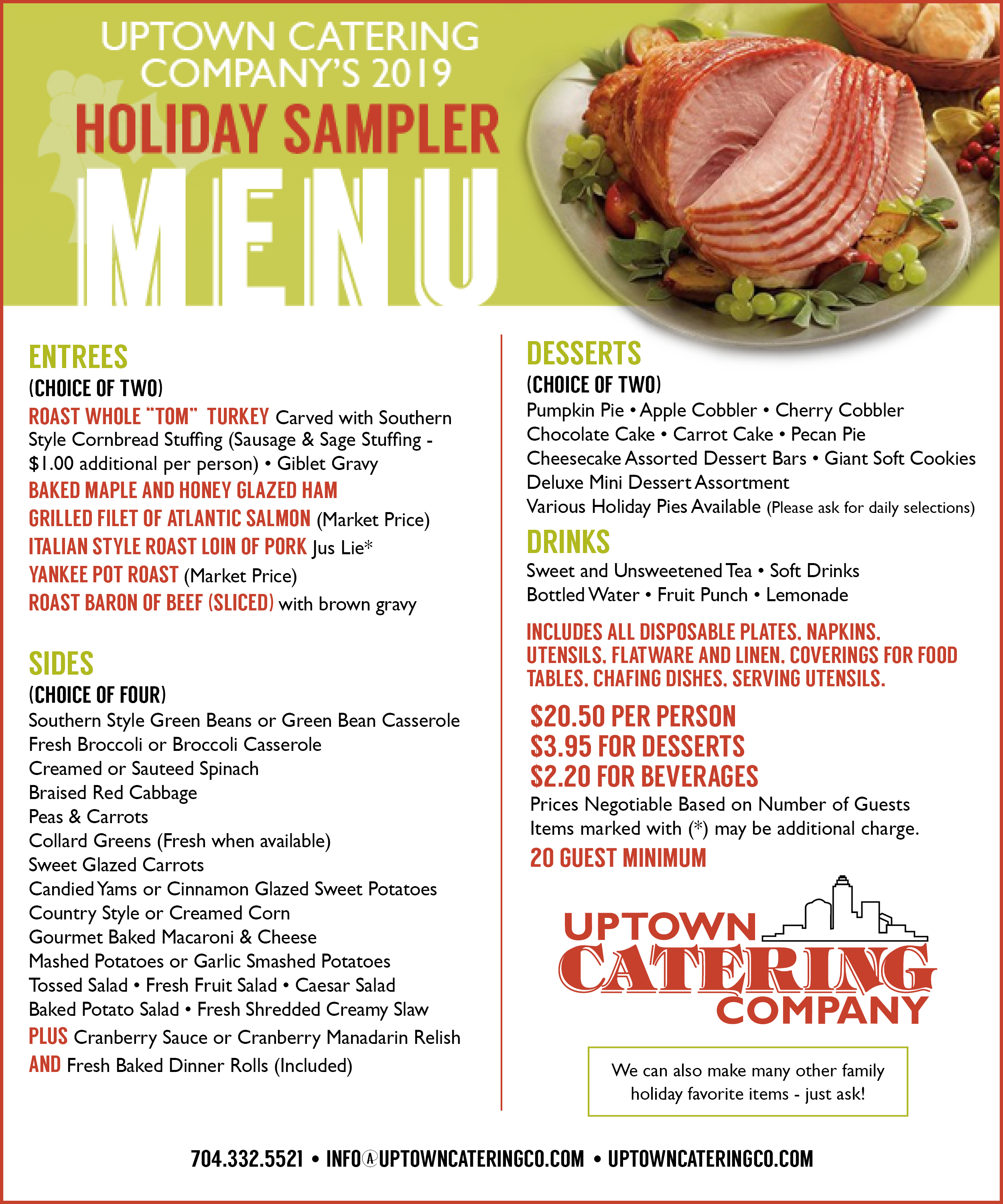 RESERVE NOW FOR YOUR ALL YOUR HOLIDAY CATERING NEEDS!